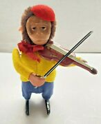 Vintage Schuco Wind Up Toy Monkey Playing Violin Yellow/blue Germany Works