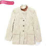 Used __hermes Leather X Cotton 2way Color Striped Jacket 38 Free Shipping