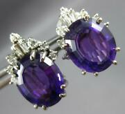Large 10.50ct Diamond And Aaa Amethyst 18kt White Gold 3d Oval Clip On Earrings