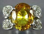 Large 4.26ct Diamond And Aaa Yellow Sapphire 18kt White Gold Oval And Round Fun Ring