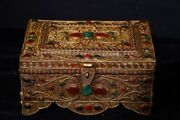 8and039and039 Tibet Silver Gilding Filigree Inlay Gem Handmade Buddhist Boxes Jewel Case