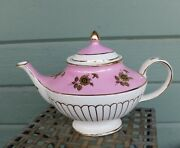 Vintage Arthur Wood Petworth Pink And White W/ Gold Roses Aladdin Shape Teapot