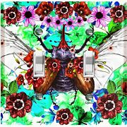 Metal Light Switch Cover Wall Plate Butterfly Beetle Red Pink Flowers But009