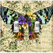 Metal Light Switch Cover Wall Plate Green Butterfly Flower Damask But028