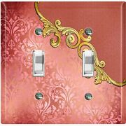 Metal Light Switch Cover Wall Plate Red Damask Flower Frame Trim Dam056