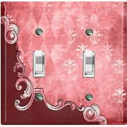 Metal Light Switch Cover Wall Plate Red Damask Flower Frame Trim Dam057