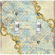 Metal Light Switch Cover Wall Plate Beige Damask Frame Trim Letter Dam060