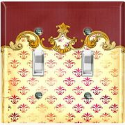 Metal Light Switch Cover Wall Plate Beige Damask Frame Trim Letter Dam061
