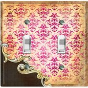 Metal Light Switch Cover Wall Plate Beige Red Damask Frame Trim Black Dam062
