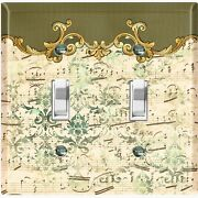 Metal Light Switch Cover Wall Plate Olive Green Damask Frame Trim Music Dam063