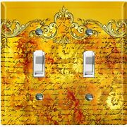 Metal Light Switch Cover Wall Plate Damask Yellow Letter Frame Dam066