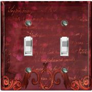 Metal Light Switch Cover Wall Plate Damask Elegant Maroon Red Frame Dam068