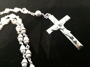 † Scarce Heavy Vintage Creed All Sterling Rosary Necklace 32 41.3 Grams †