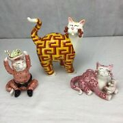 Amy Lacombe Whimsiclay Trio Of Cat Figurines