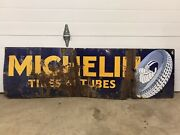 Antique 1930's Michelin Tires And Tubes Porcelain Advertising Sign Gas Oil Man