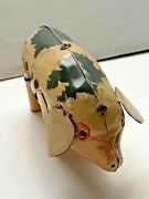 Vintage Wind Up Tin Toy Lucky Pig Made In U.s. Zone Germany Works