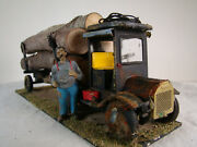 Old Style G Scale Logging Truck With Figurine - Handcrafted Custom Weathered
