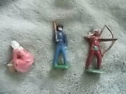 Vintage Lot 3 Lead Figurines 1950's John Hill Co England Washer Woman, Indian +