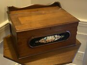 Antique Victorian Table Top Walnut Writing Desk Traveling Document Box