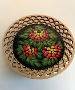 Russian Wood Cut Out Decorative Plate Lacquer Center 8 Inch