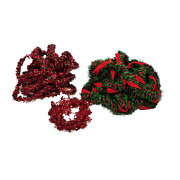 25' Small Garland Tinsel Red Green And 15' Green Red With Ribbon And Small Snowflake