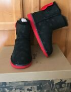 New Girl Authentic Ugg Disney Minnie Mouse Sweetie Bow Black Suede Boots Size 4
