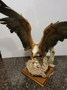 Signed Guiseppe Armani 17 Tall Eagle With Nest And 2 Eaglets Sculpture Statue