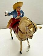 Vintage 1950 Kohler Tin Wind Up Horse Mexican Cowboy. Made In U.s. Zone Germany