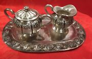 Small Sterling Silver Sugar Bowl, Cream, And Tray Set Handcrafted Sanborns, Mexico