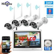 12 Lcd Monitor Wireless Security Camera System Home 8ch 3mp