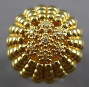 Large .08ct Diamond 14kt Yellow Gold 3d Flower Dome Shape Comfortable Fun Ring
