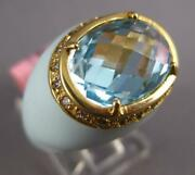 5.1ct Diamond And Aaa Blue Topaz And Enamel 14k Yellow Gold 3d Oval And Round Fun Ring