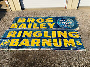 Vintage 1944 Ringling Bros Barnum And Bailey Circus Carnival Linen Banner Midway