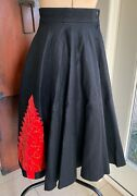 Vintage 1950and039s Wool Felt Circle Skirt W/ Velvet Christmas Tree And Ornaments Xs
