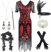 Womenand039s Roaring 20s V-neck Gatsby Flapper Dresses With Accessories Set