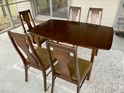 Vintage 1960s Broyhill Style Mid Century Modern Dining Set W Table And Chairs