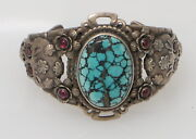 Annelise Williamson Aw Sterling Silver 925 Turquoise And Ruby Skull Cuff 68grams