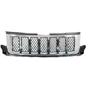 11-13 Grand Cherokee Overland Front Grill Grille Assembly Chrome W/black Insert
