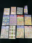 New Vintage 1990andrsquos Easter Stickers Lot 25 Sheets Bunny Chick Eggs Gibson Foil