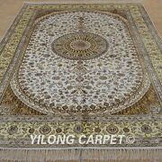 Yilong 6and039x9and039 Handknotted Silk Carpets Family Room Indoor White Area Rugs 1231
