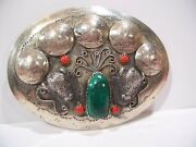 Vtg Silver Belt Buckle/5 Buffalo Nickels/ 2 Bison Heads/ Jasper And 4 Coral Stone