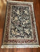 Hand Made Real Silk Hunting Scene Persian Oriental Rug 6 X 4 Ft. Fine Estate