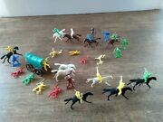 Giant Toys 1 Miniature Figures Cowboys And Indians With Horses And Covered...