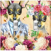 Metal Light Switch Cover Wall Plate Chihuahua Couple Fancy Flowers Dog023