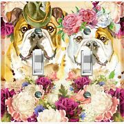 Metal Light Switch Cover Wall Plate Bull Dog Couple Fancy Flowers Dog024