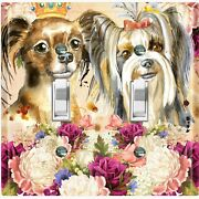 Metal Light Switch Cover Wall Plate Papillion Dog Couple Fancy Flowers Dog025