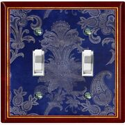 Metal Light Switch Cover Wall Plate Elegant Maroon Blue Flowers Fra037