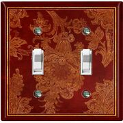 Metal Light Switch Cover Wall Plate Elegant Maroon Red Flowers Fra038