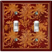 Metal Light Switch Cover Wall Plate Elegant Maroon Red Flowers Fra039