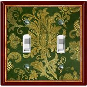 Metal Light Switch Cover Wall Plate Elegant Green Red Flowers Fra040